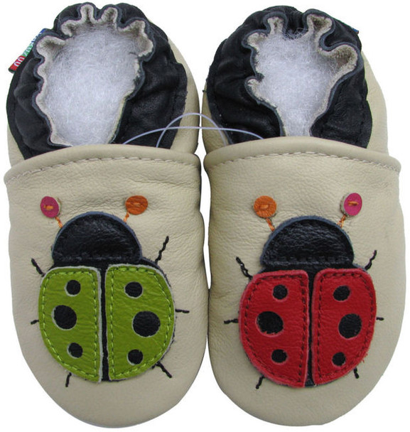 carozoo ladybug cream outdoor 12-18m soft rubber sole leather baby shoes