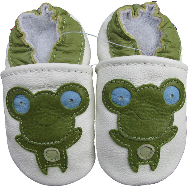 carozoo frog white 0-6m soft sole leather baby shoes