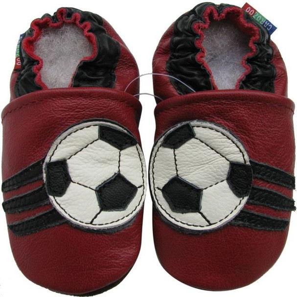 carozoo soccer dark red 0-6m C2 soft sole leather infant baby shoes