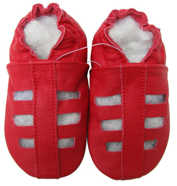 carozoo sandals red 12-18m soft sole leather baby shoes