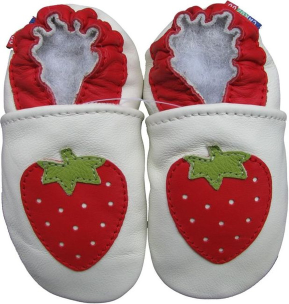 carozoo strawberry white outdoor 12-18m soft rubber sole leather baby girl shoes