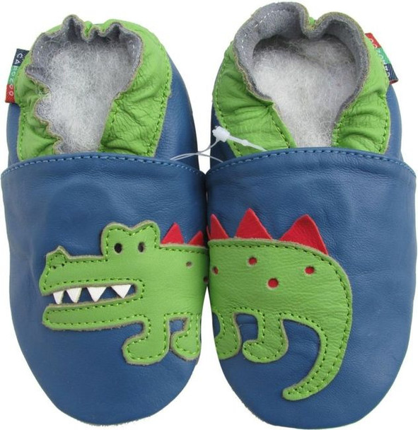 shoeszoo crocodile blue 12-18m S soft sole leather baby shoes
