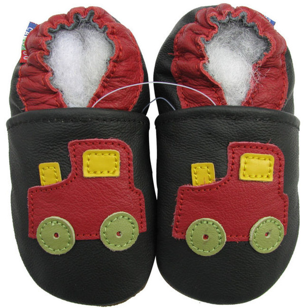 carozoo train black outdoor 6-12m soft rubber sole leather baby shoes