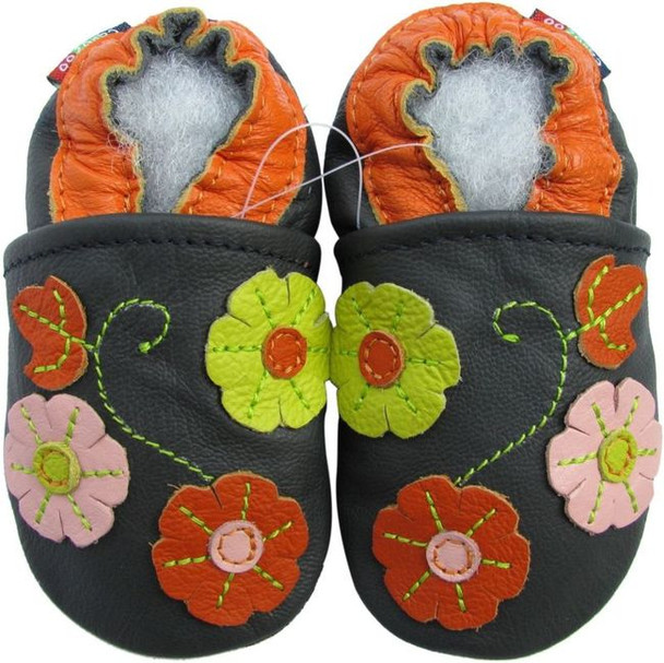 carozoo 3 flower leaf navy blue 6-12m soft sole leather baby shoes