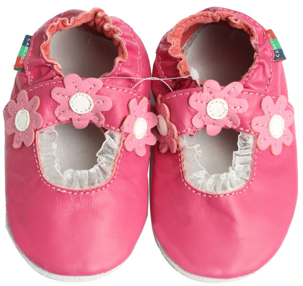 shoeszoo Mary Jane daisy fuchsia 12-18m S new soft sole leather baby shoes