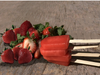 Strawberry Chunk Popsicle made with creamy strawberry sorbet and chunks of strawberries.
