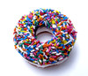 Chocolate Frozen Donut with Rainbow Sprinkles and Vanilla Center
