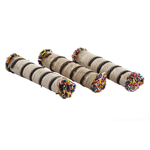 Large Cigars filled with frozen, creamy vanilla center, dipped in sprinkles