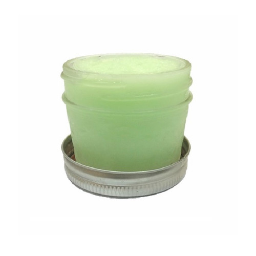 Green Apple Sorbet, made with real fruit, served in a 4 oz. glass mason jar.