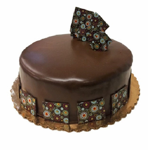 "10"" Chocolate Mousse Cake decorated with color patterned chocolate ganache squares"