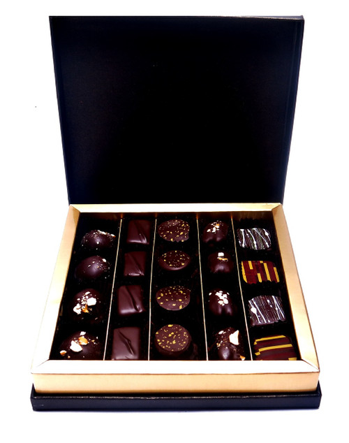 European Cigar Box - Open - Containing 25 Chocolate Jewels