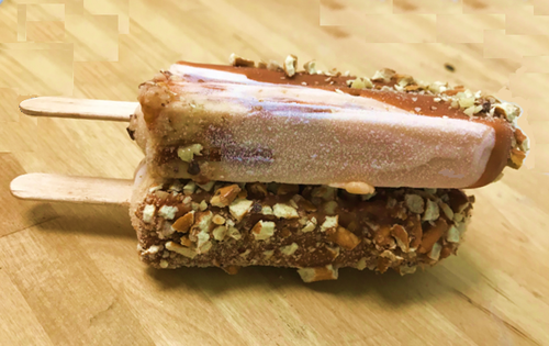 JUMBO Elegant Ice Cream Popsicle made with decadent salted caramel pretzel