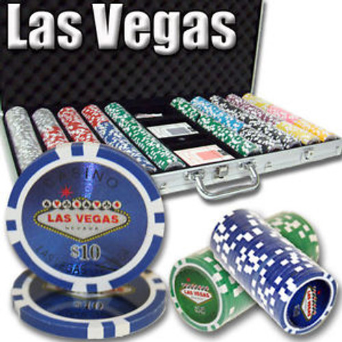500 pc Las Vegas Casino Professional 11.5g Poker Chip Set with Case & FREE OFFER
