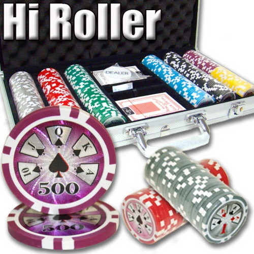 500 pc High Roller 14g Clay Professional Poker Chip Set with Case & FREE OFFER