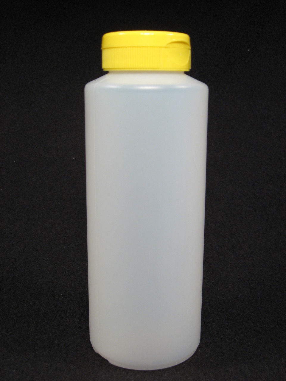16 oz. Cylinder honey bottles - case of 24 with yellow flip top lids