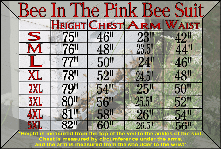 Bee In The Pink Bee Suit Size Chart