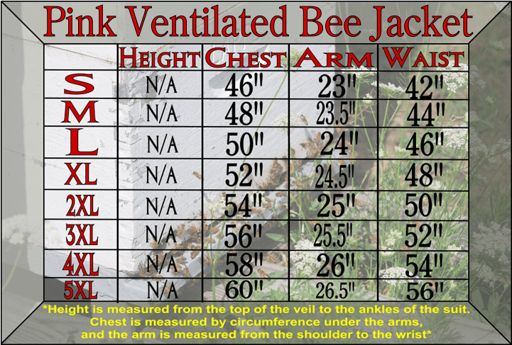 Pink ventilated bee jacket size chart