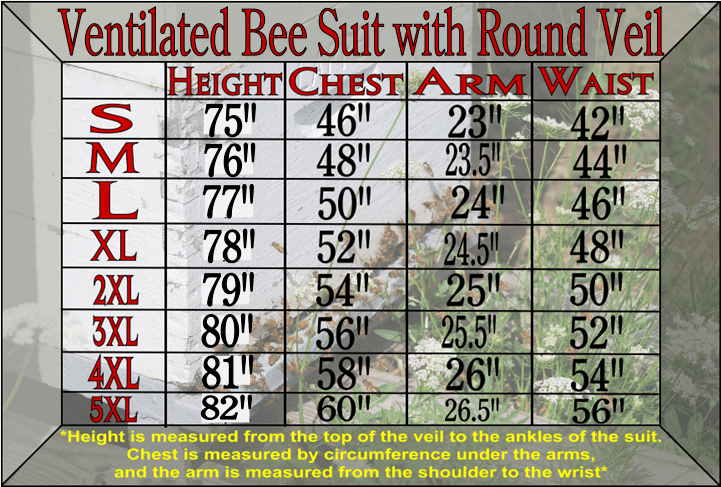 Ventilated Bee Suit Size Chart