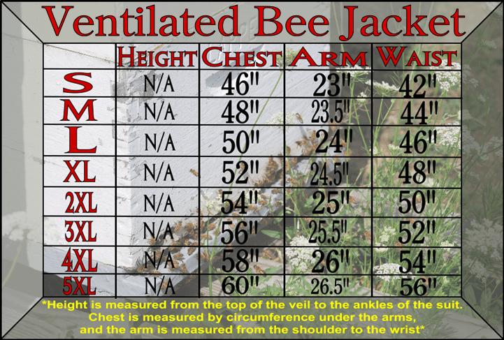 Ventilated Jacket Size Chart