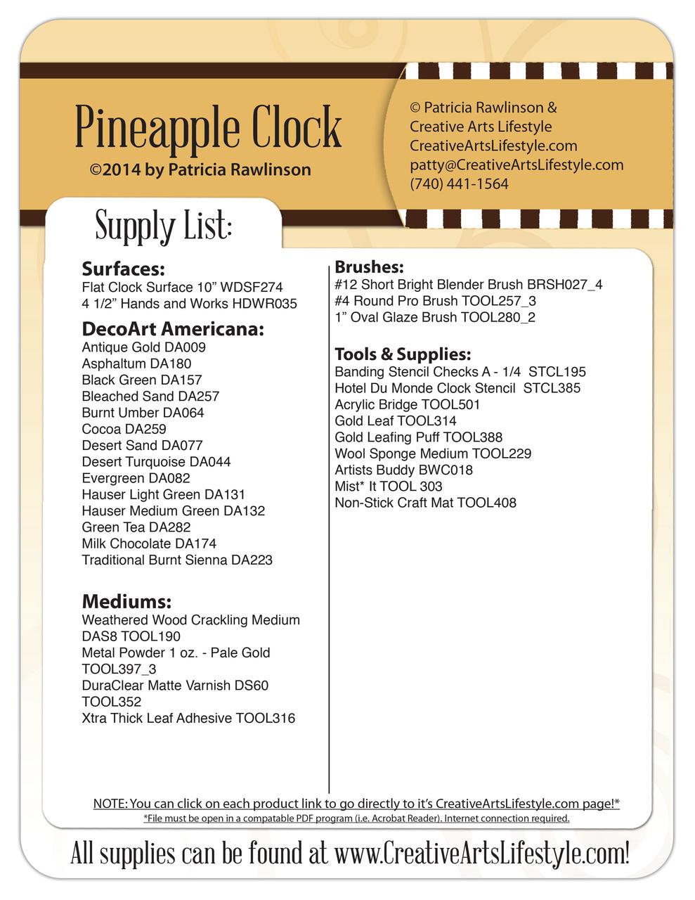 Pineapple Clock DVD - Patricia Rawlinson