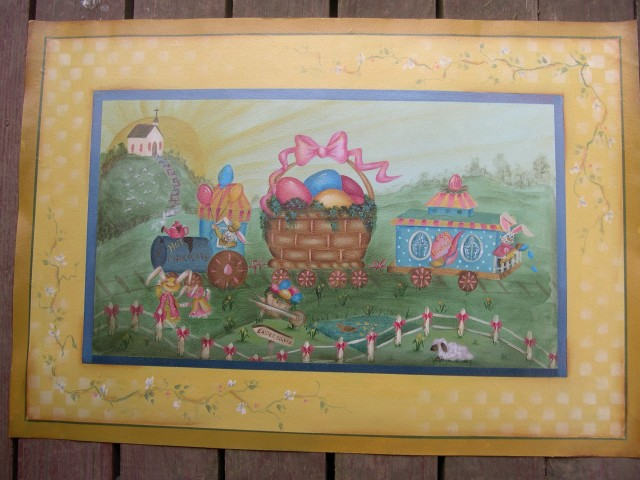 Easter Eggspress Floorcloth packet - Patricia Rawlinson