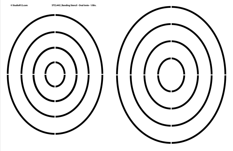 "Banding Stencil - Oval Innie 1/8"""