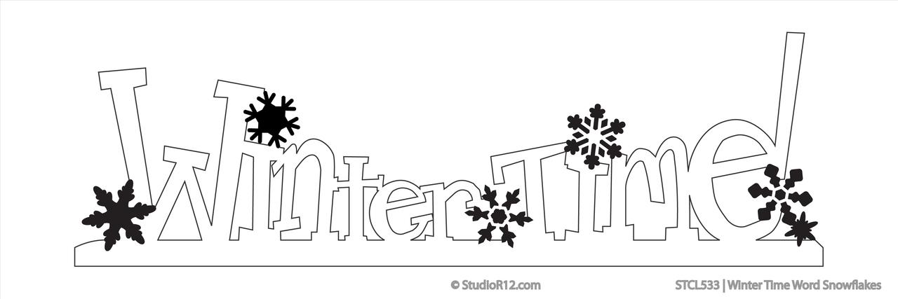 Winter Time Word Snowflake Stencil