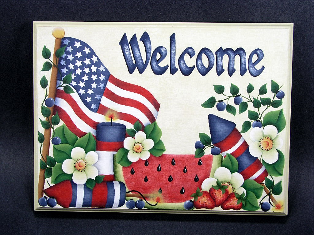 Patriotic Welcome Sign - E-Packet - Jeanne Bobish