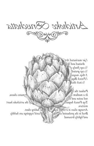 Artichoke Bruschetta Recipe - B&W 10x16- Image Transfers