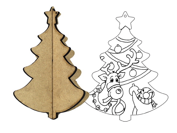 3D Wood Ornament - Christmas Tree