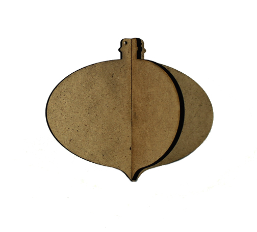 3D Wood Ornament - Oval Pointed