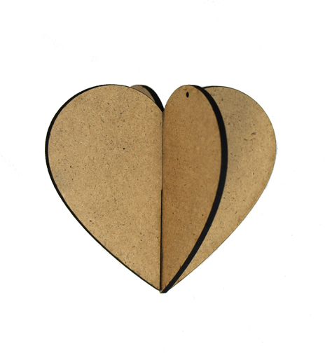3D Wood Ornament - Heart