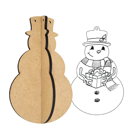 3D Wood Ornament - Snowman