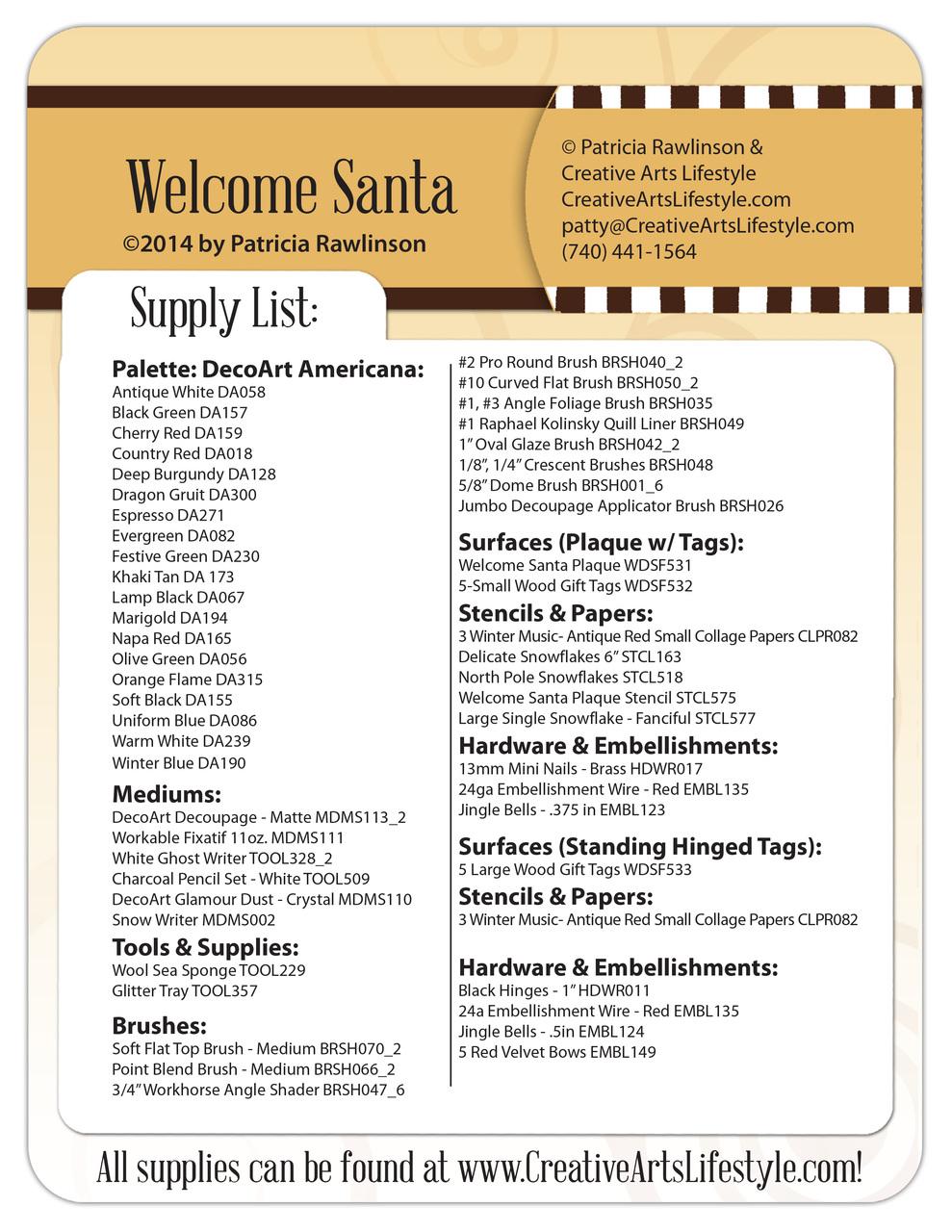 Welcome Santa Pattern Packet - Patricia Rawlinson