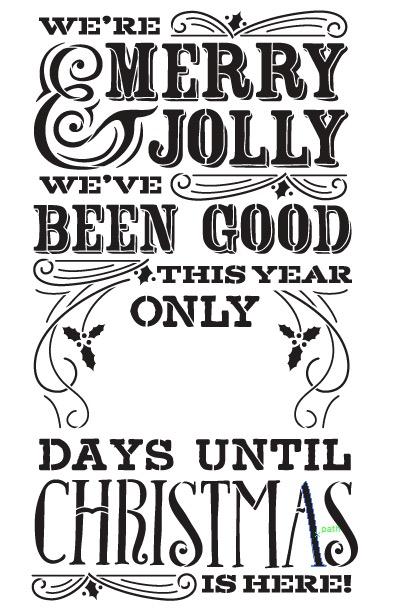 "Merry Christmas Chalk Countdown Stencil - 20""X30"""
