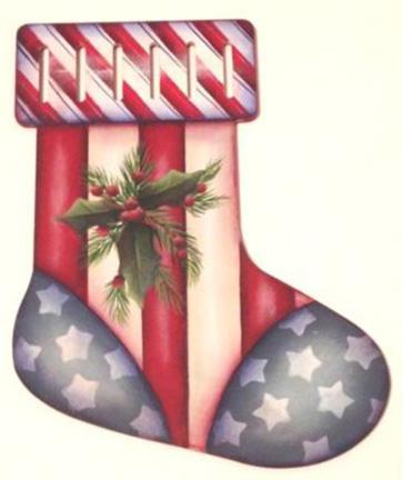 Americana Stocking Ornament - E-Packet - Lonna Lamb