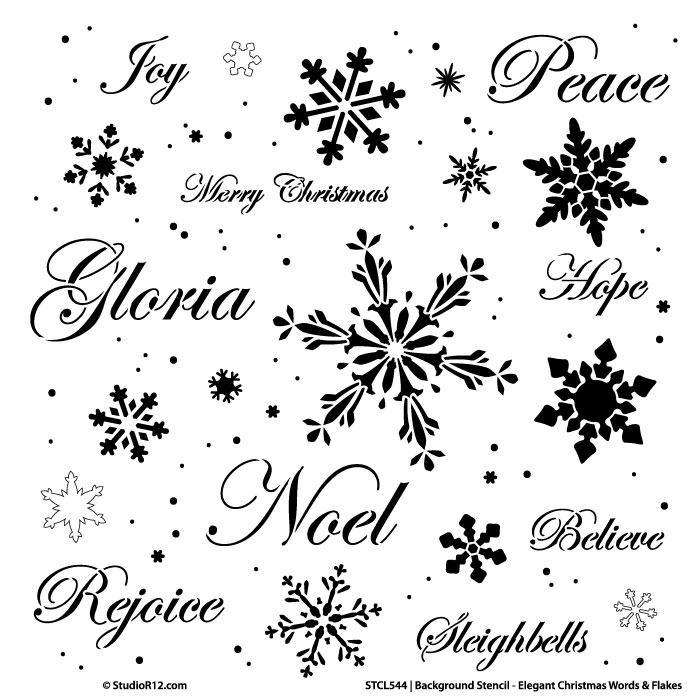 "Background Words Stencil - Elegant Christmas Words & Snowflakes - 16"" x 16"""