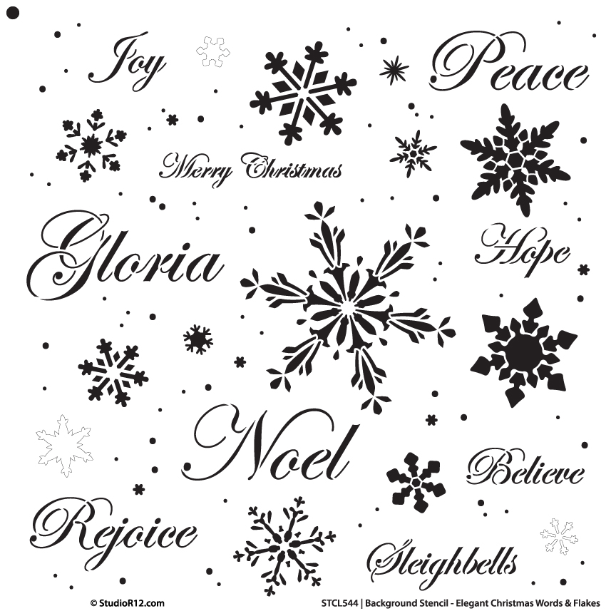 "Background Words Stencil - Elegant Christmas Words & Snowflakes - 18"" x 18"""