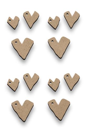 Tiny Primitive Hearts - Set of 12