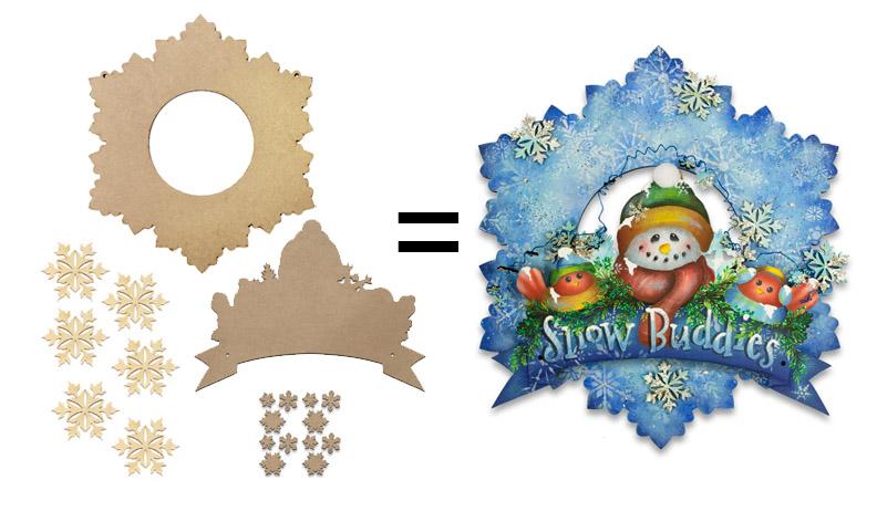 Snow Buddies Winter Wreath Surface Set