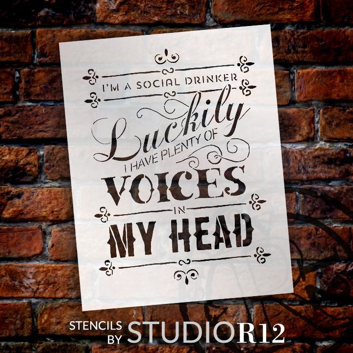 "Social Drinker - Word Stencil - 11"" x 14"" - STCL654_2 - by StudioR12"