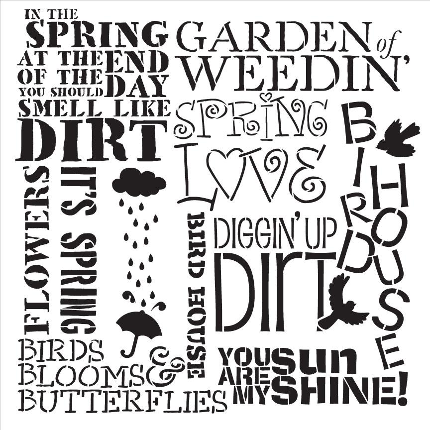 """Spring Love Background Word Stencil  - 12"""" x 12"""""""
