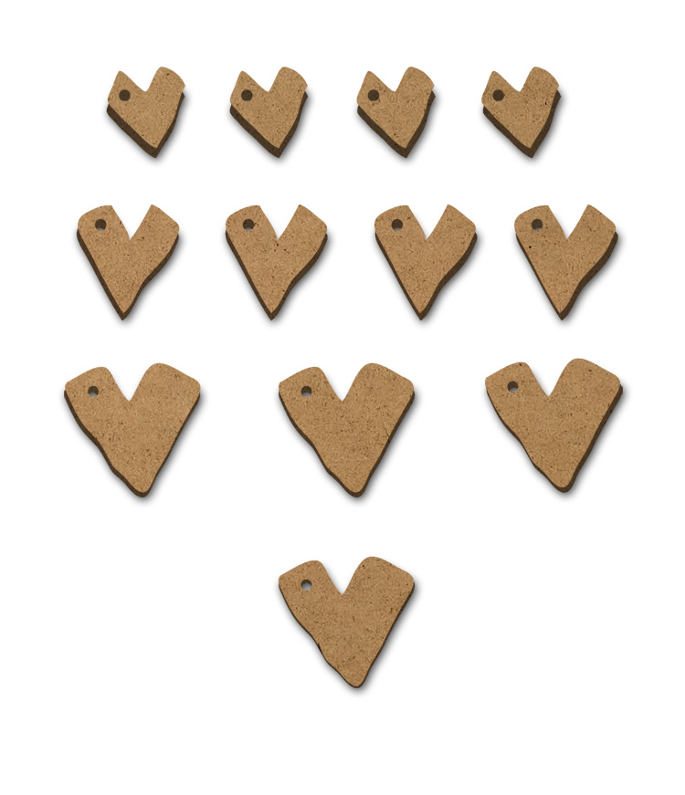 Primitive Hearts - Set of 12