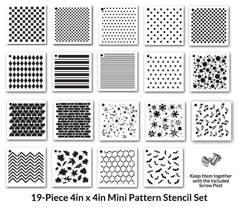 """4"""" x 4"""" Mini  Pattern Stencil Set - 19pc"""