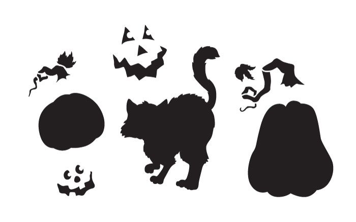 "Spooky Hollow Pumpkins & Cat Art Stencil - 8"" x 5"""