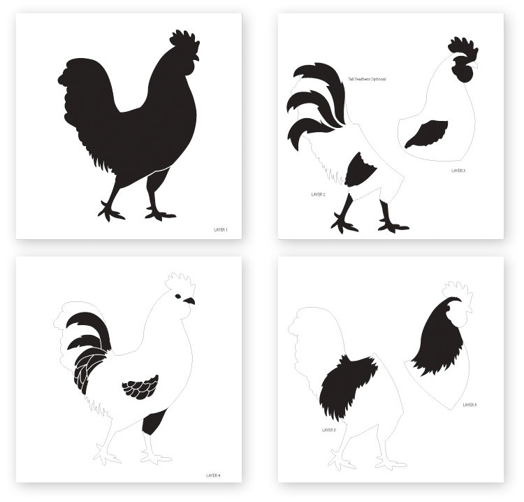 Layered Rooster Art Stencil