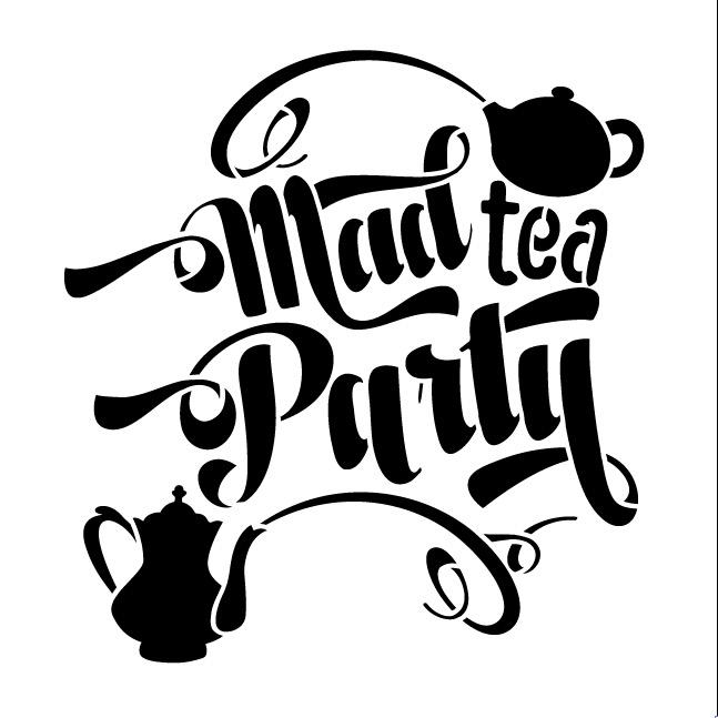 "Mad Tea Party Word Art Stencil - 6"" X 6"""