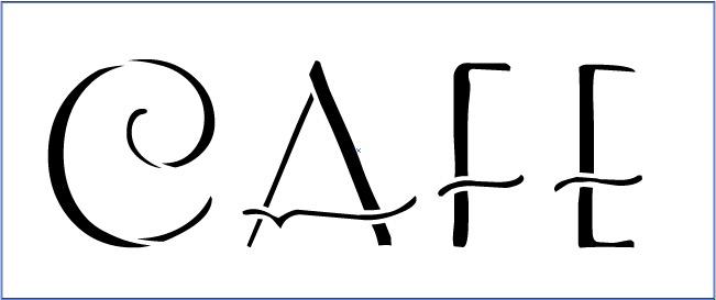 "Cafe Word Art Stencil- Art Deco - 9"" X 4"""