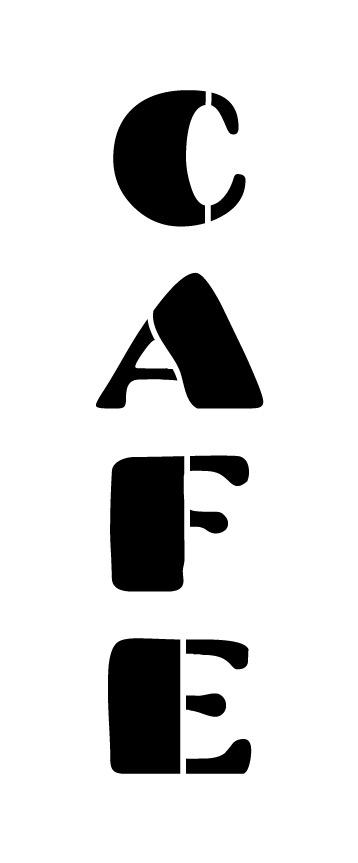 "Cafe Word Stencil - Chunky Retro - 19.5"" X 7"""