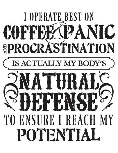 "Coffee Panic Procrastination Word Art Stencil 14"" X 11"""